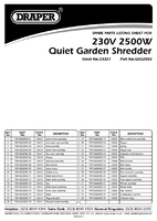 Parts List for Draper 2500W 230V Quiet Garden Shredder 23321 (GSQ2502)