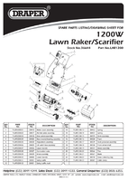 Parts List for Draper 1200w 330mm 230v Lawn Scarifier And Aerator (2 In 1) 36644 (Lar1200)